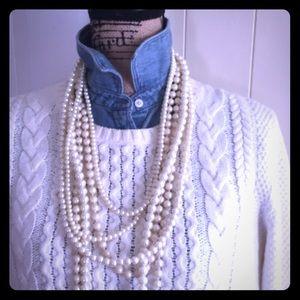 TALBOTS Fisherman Cream Knit Cotton Blend Sweater